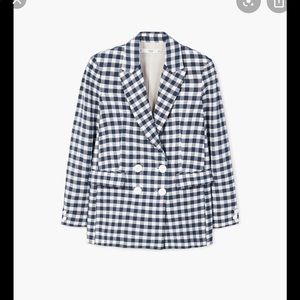 Mango blue/white gingham blazer